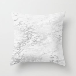 Light Grey Marble Silver Glitter Gray Throw Pillow