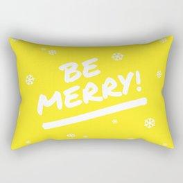 Bright Yellow Be Merry Christmas Snowflakes Rectangular Pillow