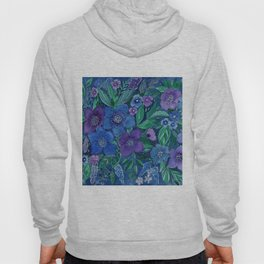 Watercolor . Blue flowers . Hoody