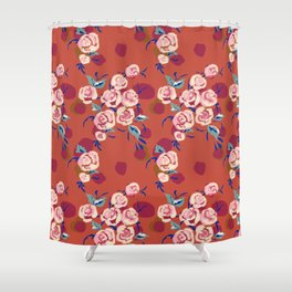 Painty Roses Burnt Orange Shower Curtain