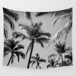Black Palm Trees Wall Tapestry