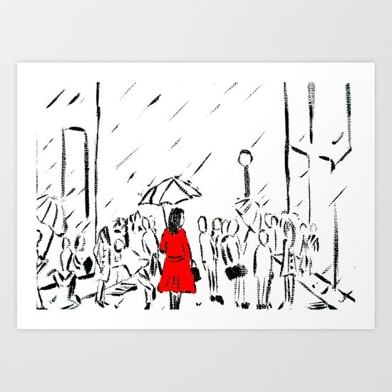 The Girl In The Red Rain Coat (Part 1)  Fine Art Acrylic Painting Art Print