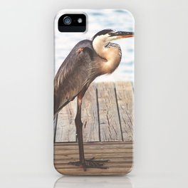 Great Blue Heron on Fishing Dock Photography iPhone Case