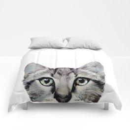 Cat, American Short hair, illustration original painting print Comforters