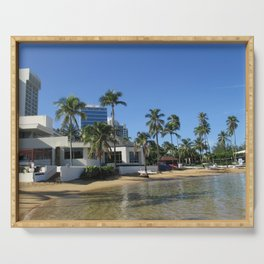 Beach at Caribe Hilton, San Juan, Puerto Rico Serving Tray