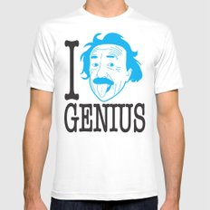 I __ Genius MEDIUM White Mens Fitted Tee