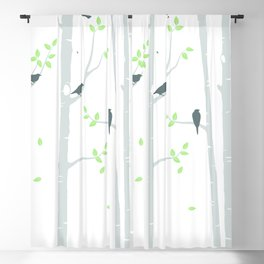 Grey Birch Trees on White Blackout Curtain