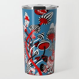 Magic Mushroom Red black blue Travel Mug