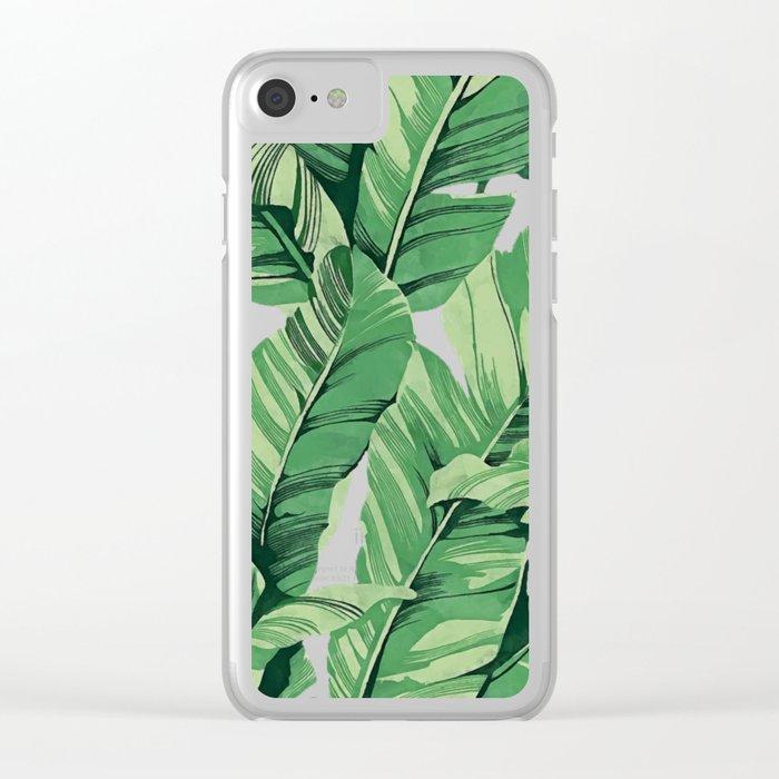 Tropical banana leaves V Clear iPhone Case
