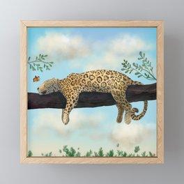 Sleepy Jaguar Hanging on a Branch Framed Mini Art Print