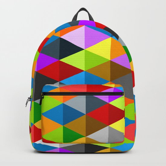 Modern bright funky colorful triangles pattern Backpack