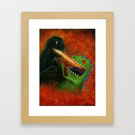 Godzilla vs Reptar Framed Art Print