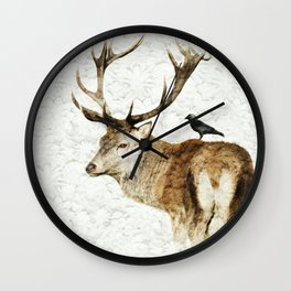 Red Deer Stag with a jackdaw on the back Wall Clock