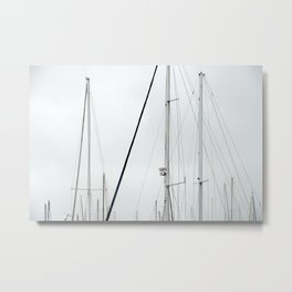sail mast in harbor group overcast Metal Print