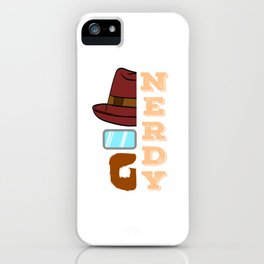 A Unique Half Face Design With Illustration Of A Man With Mustache Hat And Eyeglasses Nerdy T-shirt iPhone Case