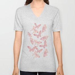 Butterfly Pattern soft pink pastel Unisex V-Neck