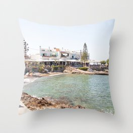 White Village In Greece Photo | Summer On Crete Island Beach Art Print | Europe Travel Photography Throw Pillow