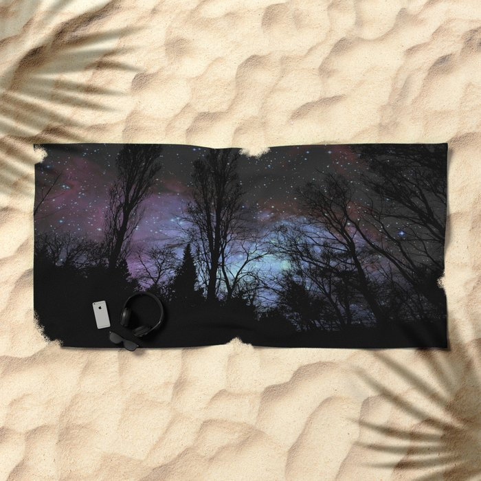 Black Trees Dark Space Beach Towel