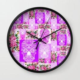 Skulls and Roses Wall Clock