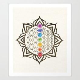 Flower of Life Chakra Healing Mandala Art Print