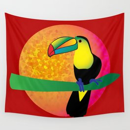 Toucan - Red Wall Tapestry