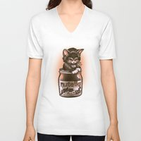 nutella V-neck T-shirts featuring Kitten Loves Nutella by Tim Shumate