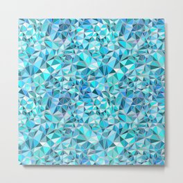 Icy Blue Crystalline Abstract Geometric structures Metal Print
