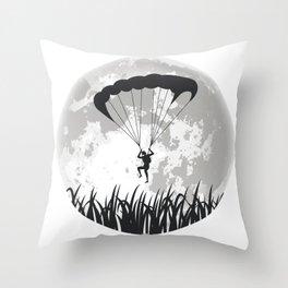 Paragliding Full Moon Throw Pillow