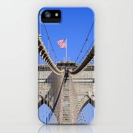 American Flag at the Brooklyn Bridge iPhone Case