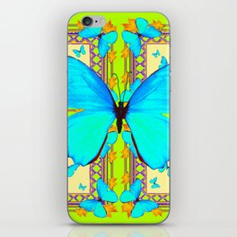 Turquoise Satin Butterflies On Lime & Cream Colors iPhone Skin