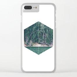 green hexagon lake Clear iPhone Case