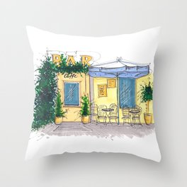 Bar Cafe Caffe in Trastevere in Rome hand-painted watercolor sketch Throw Pillow