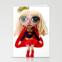 karu kara Stationery Cards featuring Kara Zoe-El ~ Supergirl by Chiara Venice Art Dolls