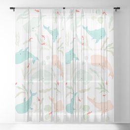 Pastel Whale Pattern Sheer Curtain