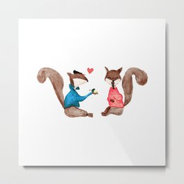 Squirrels In Love - PAINTED Metal Print