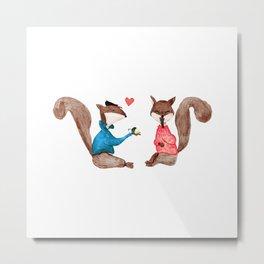 Squirrels In Love - PAINTED Metal Print