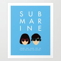 submarine Art Prints featuring Submarine by Loverly Prints