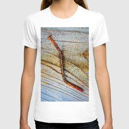 Grunge Rusty Metal Nail On Wooden Deck T-shirt
