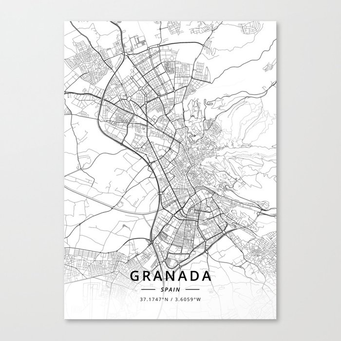 Granada, Spain - Light Map Canvas Print by designermapart on cadiz spain map, zaragoza spain map, deia spain map, madrid spain map, almeria spain map, valencia spain map, bilbao spain map, andujar spain map, pamplona spain map, alhambra spain map, gibraltar map, seville map, rota spain map, chile spain map, malaga spain map, santander spain map, ortigueira spain map, hamburg germany map, salamanca spain map, mieres spain map,