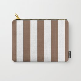 Dark brown-tangelo brown - solid color - white vertical lines pattern Carry-All Pouch