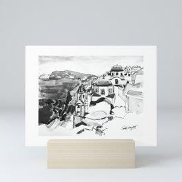 Santorini Greece Black and White Watercolor Painting Mini Art Print