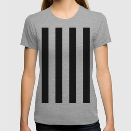 Simply Vertical Stripes in Midnight Black T-shirt