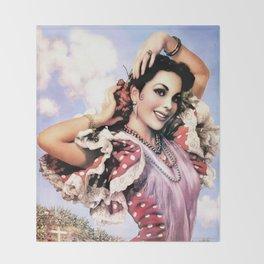 Jesus Helguera Painting of a Delightful Mexican Calendar Girl Throw Blanket