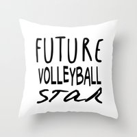 volleyball Throw Pillows featuring Future Volleyball Star by raineon