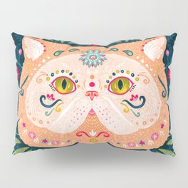 Candied Sugar Skull Kitty Pillow Sham