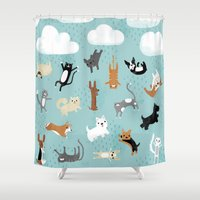 yorkie Shower Curtains featuring Raining Cats & Dogs by Anne Was Here