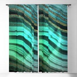 Gold Indigo Malachite Marble Waves Blackout Curtain