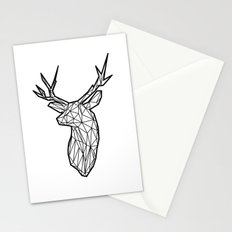 Black Line Faceted Stag Trophy Head Stationery Cards