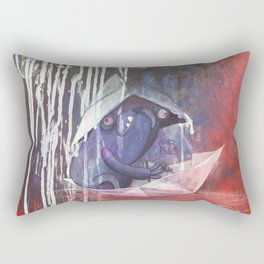 blue french bulldog in a paperboat Rectangular Pillow