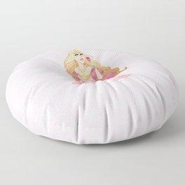 Blond Princess Smells A Rose Floor Pillow